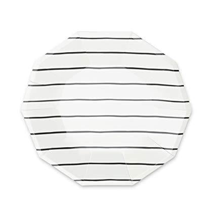 Black Stripe Plate (large)-Palm & Pine Party Co.