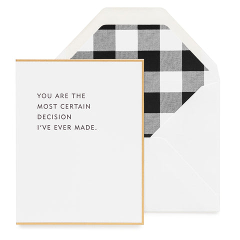 Most Certain Decision Card-Palm & Pine Party Co.