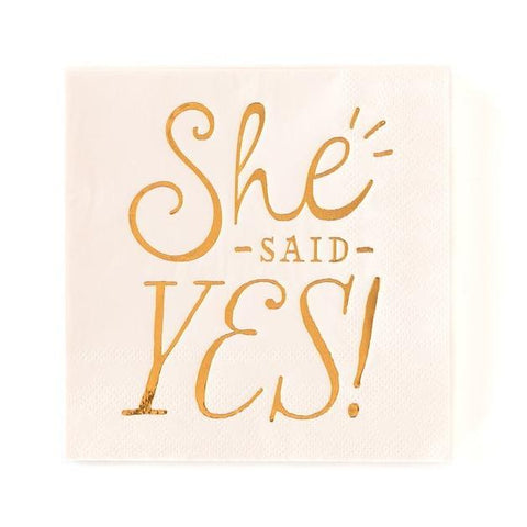 She Said Yes Napkins - Gold-Palm & Pine Party Co.
