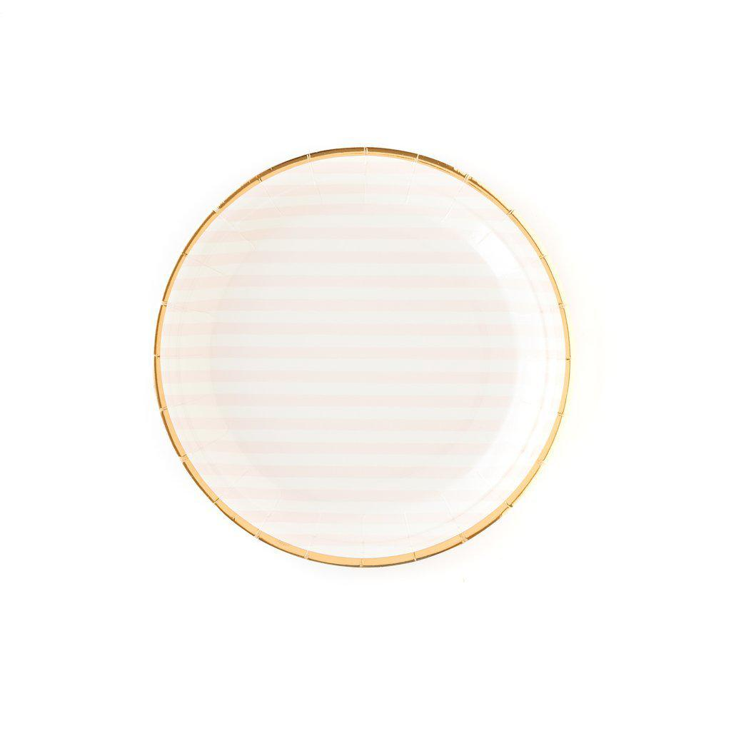 Pink Striped Round Plate-Palm & Pine Party Co.