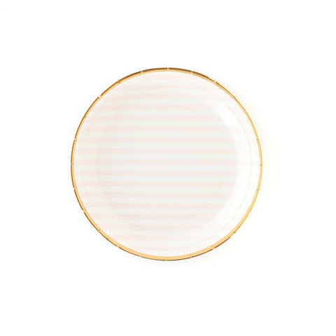 Pink Striped Round Plate-Palm & Pine