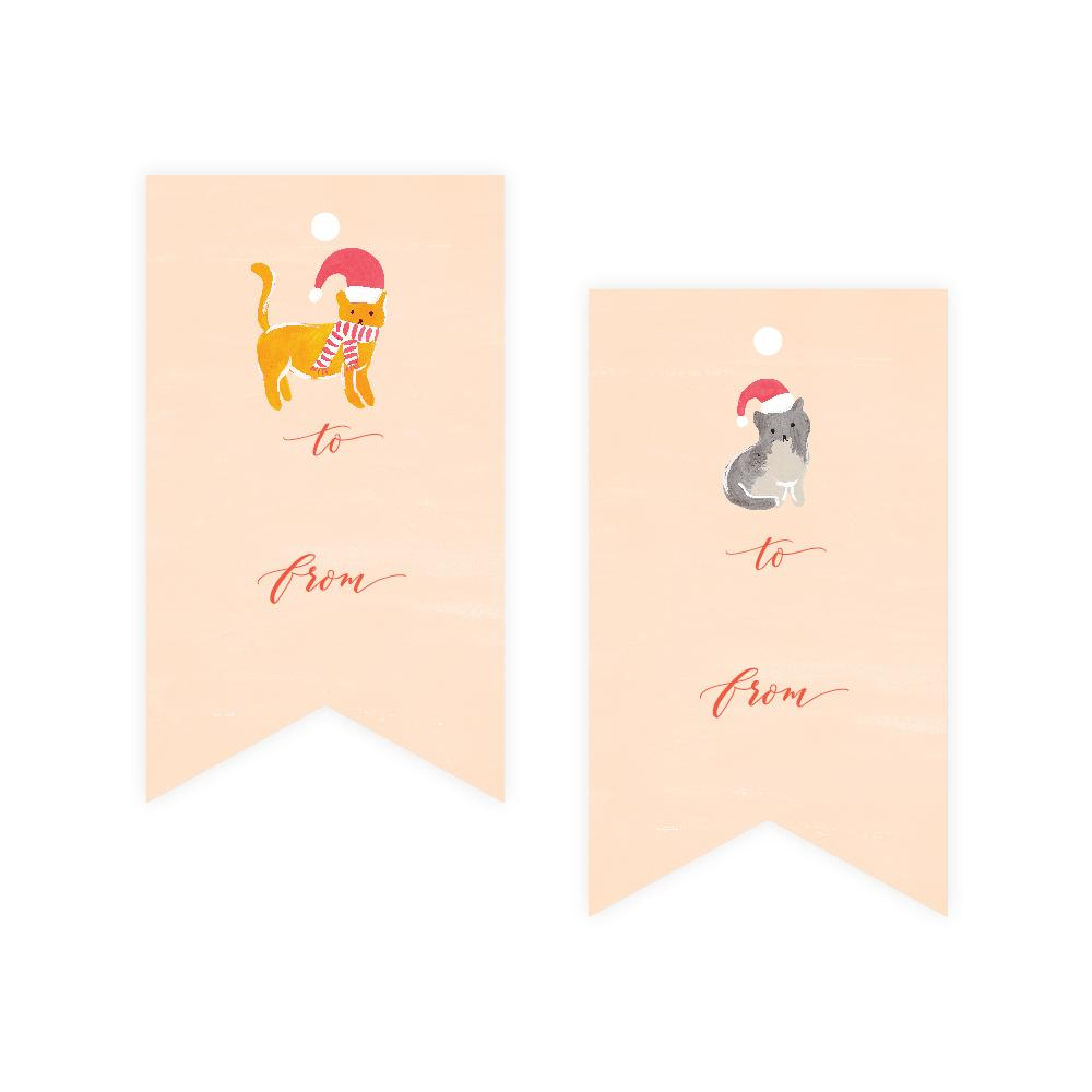 Christmas Cats Gift Tags Palm Pine Party Co