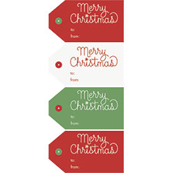 Merry Christmas Sticker Tags-Palm & Pine
