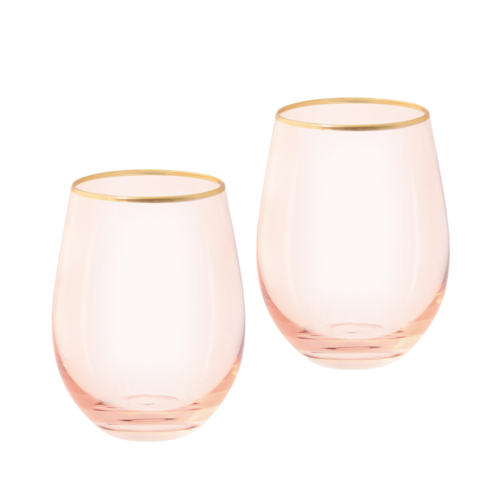 Rose Crystal Tumblers (set of 2)-Palm & Pine