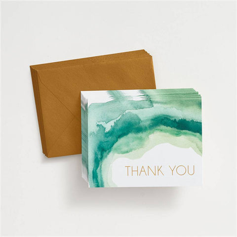 Emerald Watercolor Thank You Card Set