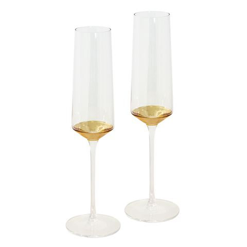 Champagne Flute Estelle Gold Set of 2-Palm & Pine