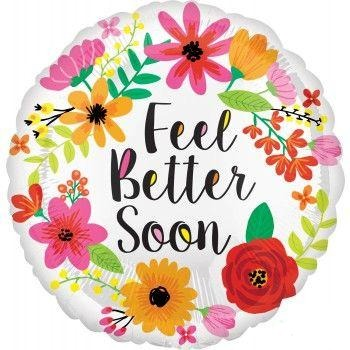 Mylar Feel Better Soon Floral Wreath Balloon-Palm & Pine Party Co.
