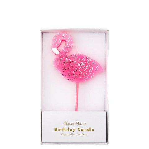 Glitter Flamingo Candle-Palm & Pine