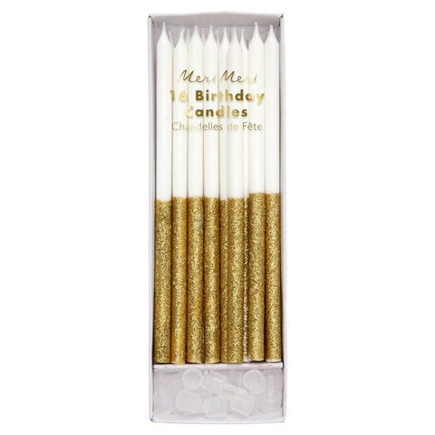 Glitter Dipped Candles (gold)-Palm & Pine Party Co.