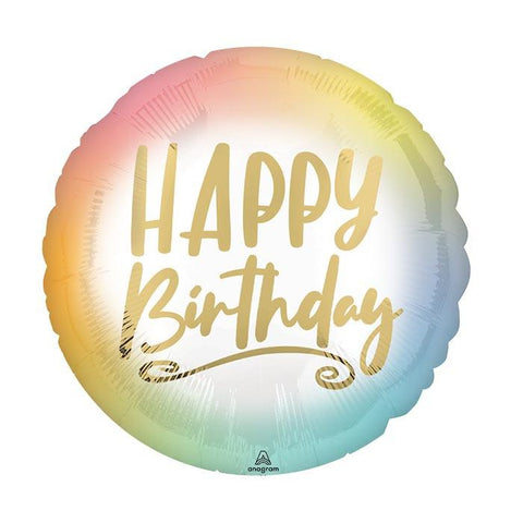 Happy Birthday Ombre Pastel Balloon, Inflated-Palm & Pine Party Co.