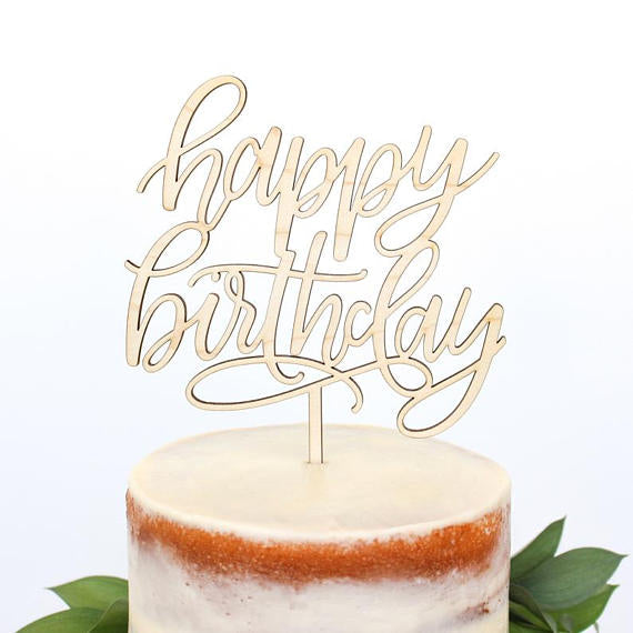 Happy Birthday Cake Topper Wood Palm Pine Party