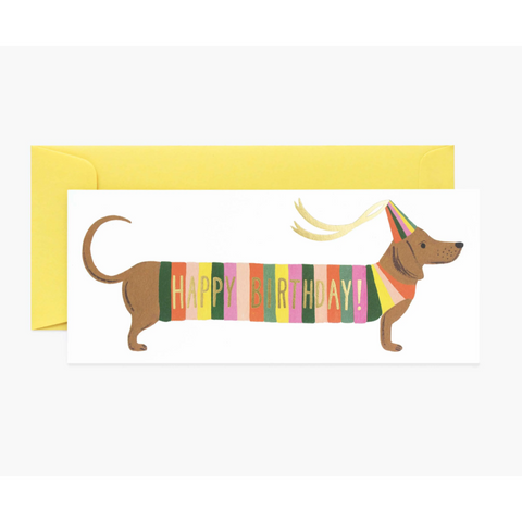 Sausage Dog Birthday Card-Palm & Pine
