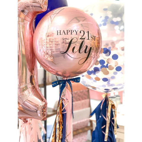 Personalised Orb Balloon, Inflated-Palm & Pine Party Co.