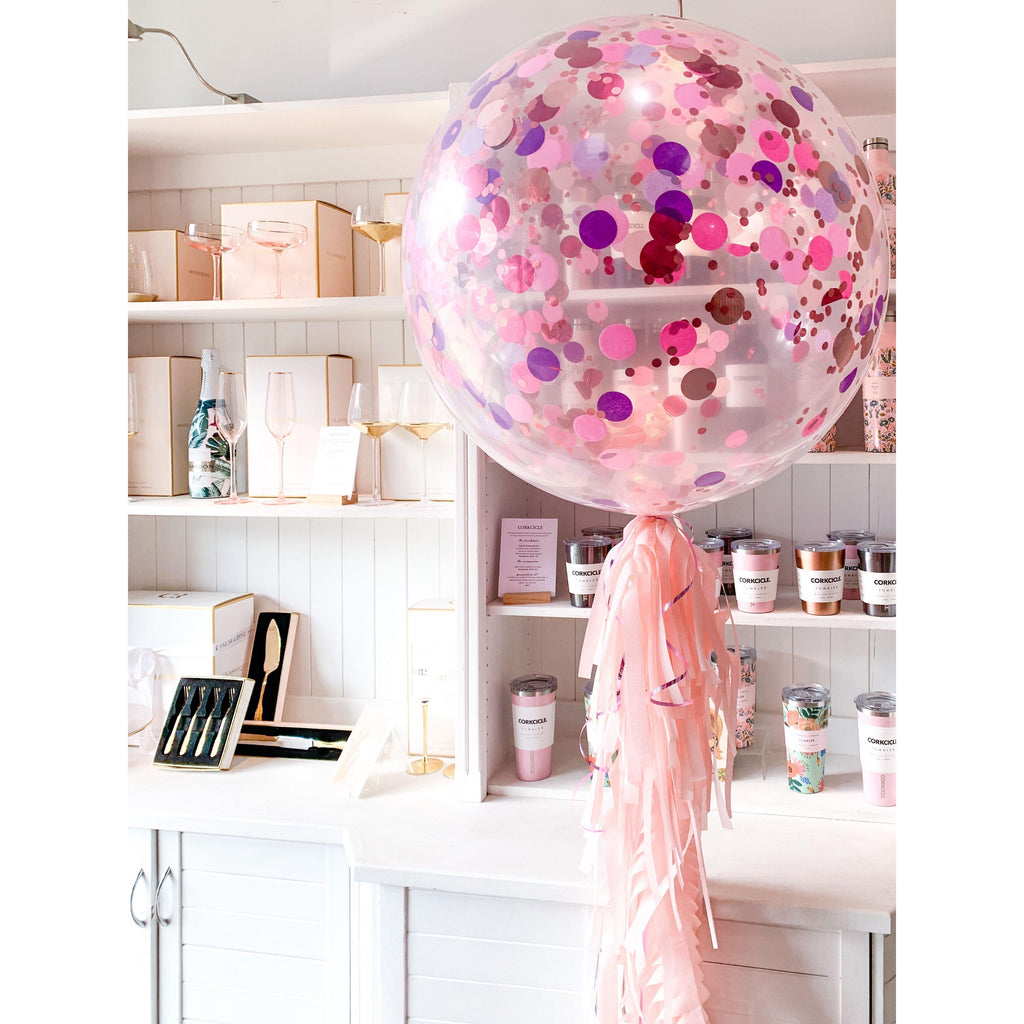 Jumbo Confetti Balloon, Inflated-Palm & Pine