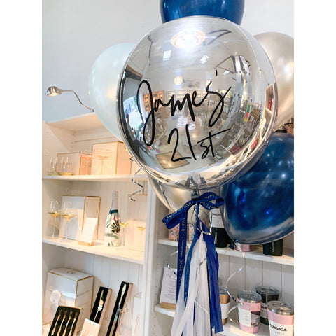 Personalised Orb Large Balloon Bouquet, Inflated-Palm & Pine