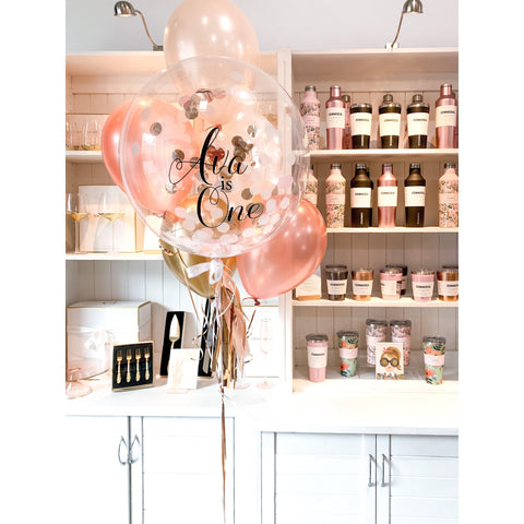 Personalised Confetti Balloon Large Bouquet, Inflated-Palm & Pine Party Co.