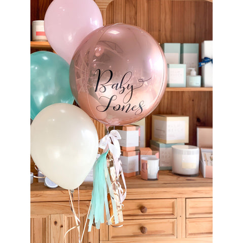 Personalised Orb Medium Balloon Bouquet, Inflated-Palm & Pine