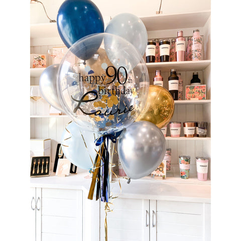 Personalised Confetti Balloon Extra Large Bouquet, Inflated-Palm & Pine