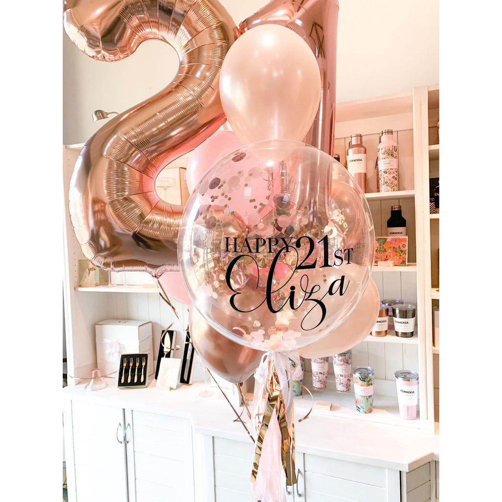 Personalised Confetti Balloon Deluxe Bouquet, Inflated-Palm & Pine
