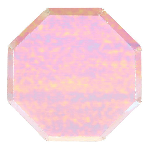 Pink Iridescent Plates (large)-Palm & Pine