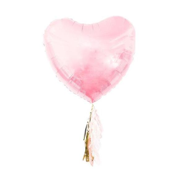 Jumbo Heart Balloon with Tassels (Pink)-Palm & Pine Party Co.
