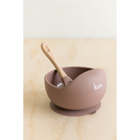 Silicone Bowl & Spoon (Heather)-Palm & Pine