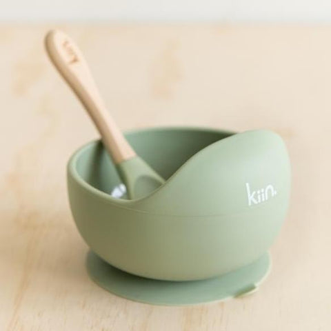 Silicone Bowl & Spoon (Sage)-Palm & Pine