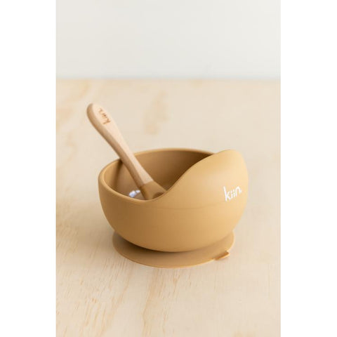 Silicone Bowl & Spoon (Tan)-Palm & Pine