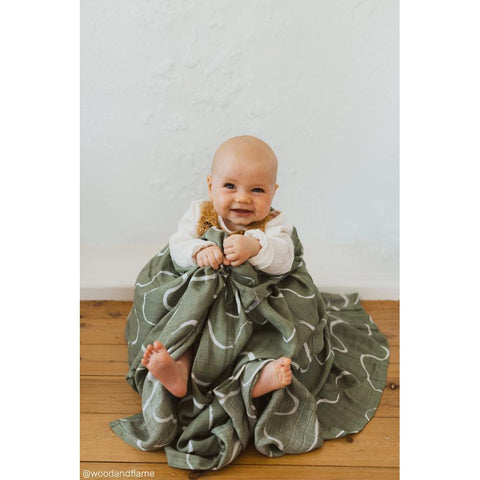 Muslin Swaddle - Ocean-Palm & Pine