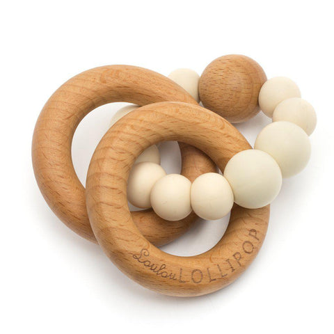 Silicone & Wood Baby Teether - Beige-Palm & Pine