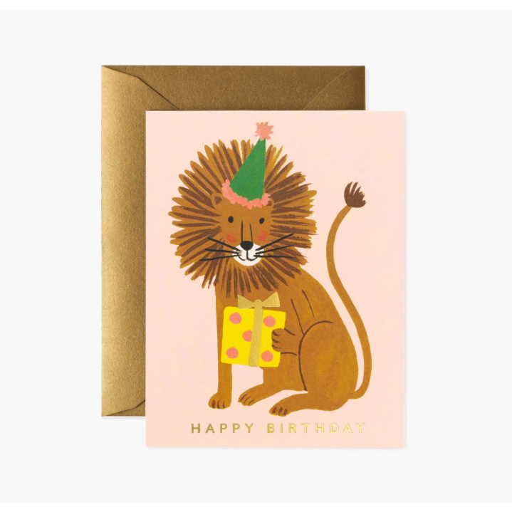 Lion Birthday Card-Palm & Pine