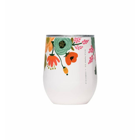 Corkcicle Stemless 12oz (Lively Cream Floral)-Palm & Pine Party Co.