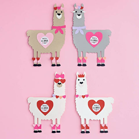 Loveable Llama Valentine Card Kit-Palm & Pine