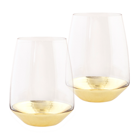 Estelle Gold Tumbler Set of 2-Palm & Pine