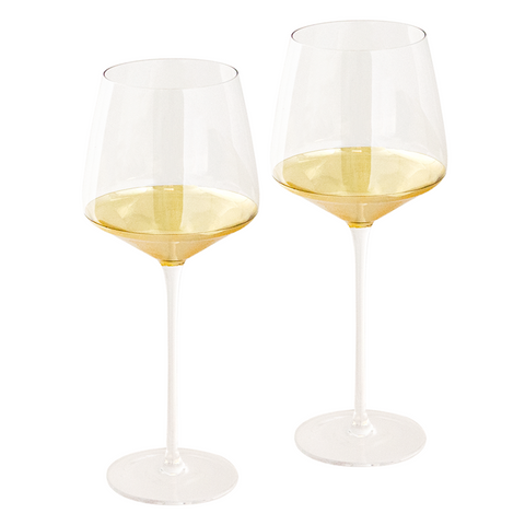 Wine Glass Estelle Gold Set of 2-Palm & Pine
