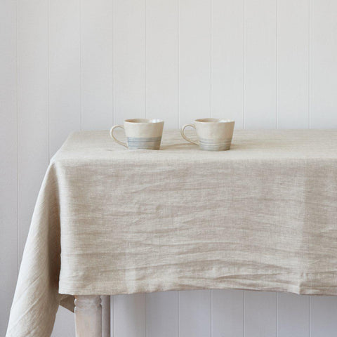 Natural Linen Tablecloth-Palm & Pine