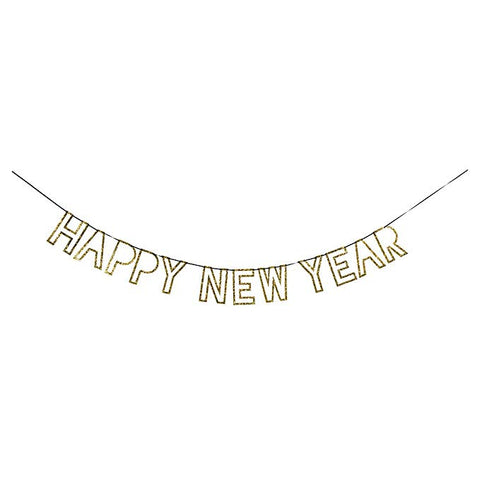 Gold Glitter New Year Garland-Palm & Pine