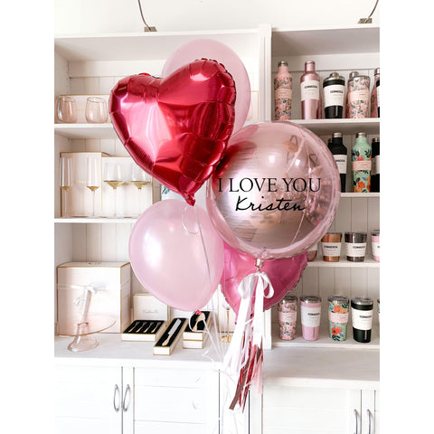 Personalised Foil Orb Balloon - Inflated for Valentines Day Pick Up-Palm & Pine Party Co.