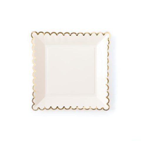 Cream Scallop Plate-Palm & Pine Party Co.