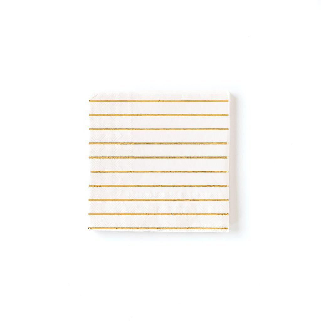 Cream Striped Cocktail Napkin-Palm & Pine Party Co.