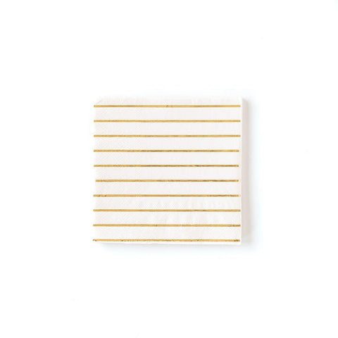 Cream Striped Cocktail Napkin-Palm & Pine