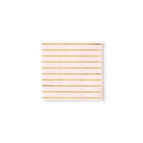 Blush Striped Cocktail Napkin
