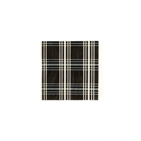 Black Plaid Cocktail Napkins-Palm & Pine Party Co.