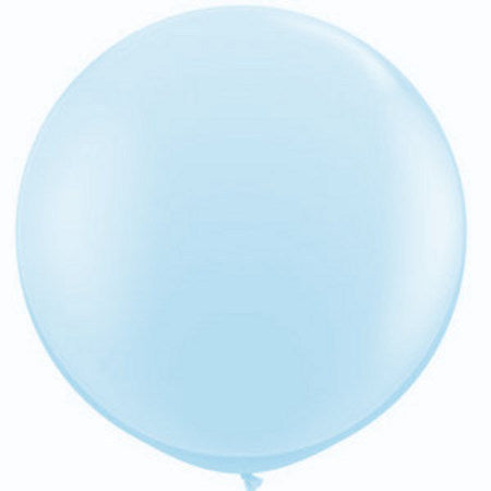 Jumbo Round Pearl Light Blue Balloon, Inflated-Palm & Pine