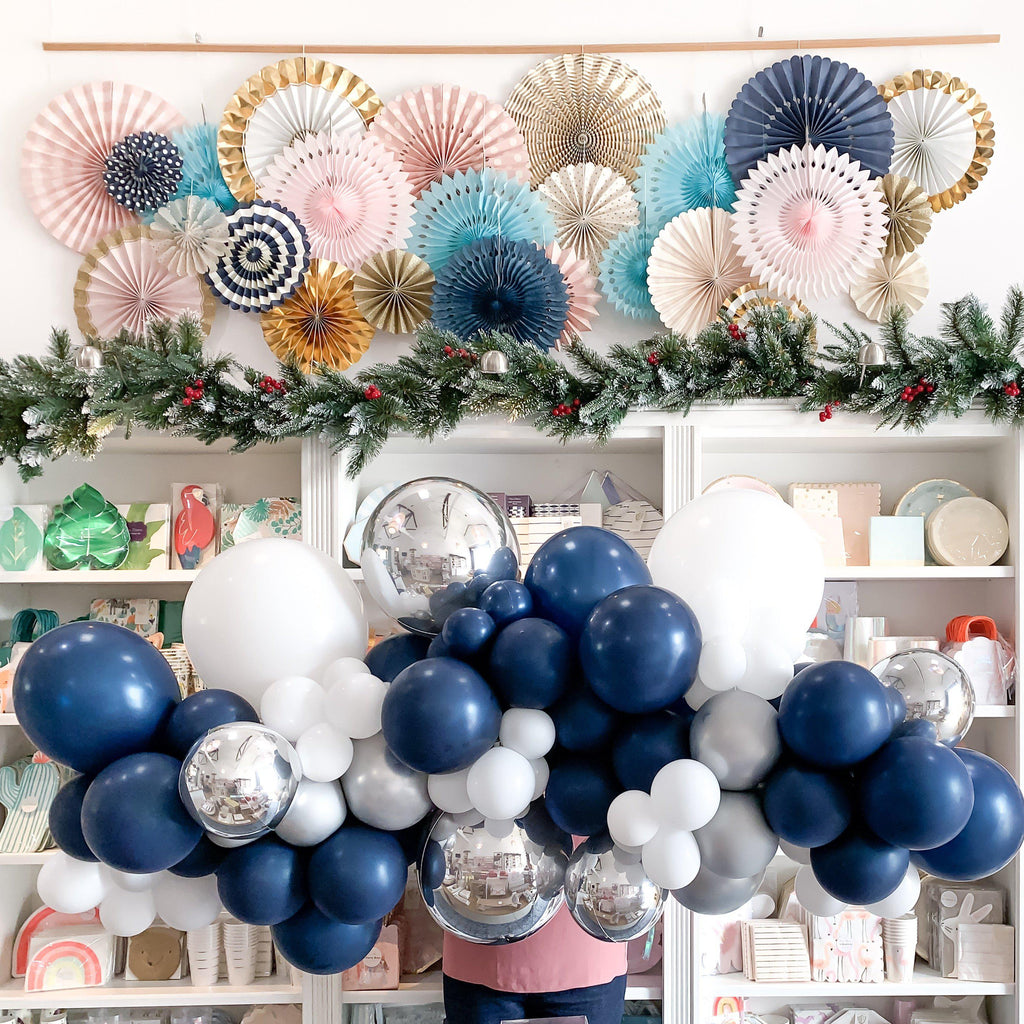 Silver Bells Balloon Garland-Palm & Pine