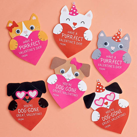 Puppy and Kitty Valentine Card Kit-Palm & Pine