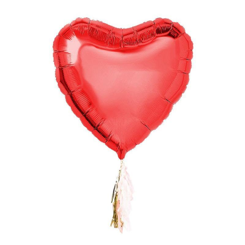 Jumbo Heart Balloon with Tassels - Inflated for Valentines Day Pick Up-Palm & Pine Party Co.