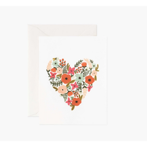 Floral Heart Card-Palm & Pine