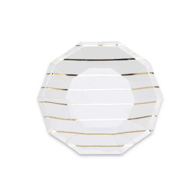 Gold Stripe Plate (small)-Palm & Pine