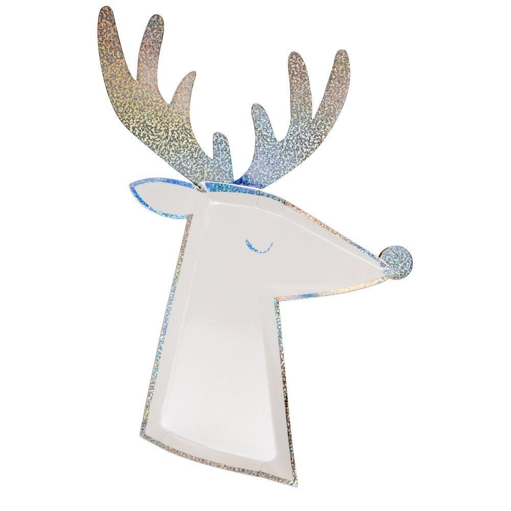 Silver Sparkle Reindeer Plate-Palm & Pine